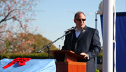 Brent Casey, president and cofounder of the Student Veterans of America Chapter 227 dedicates the Medal of Honor Memorial Garden and Veteran's Plaza at Sullivan University, Louisville, Kentucky on Veteran's Day, November 11, 2010.